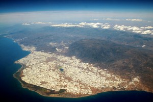 An aerial photograph of the Sierra de Gádor and the greenhouses of the Almeria coast in southern Spain.