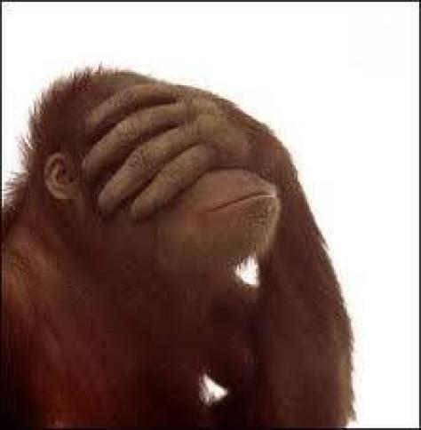 An artist's impression of a baffled orangutan.