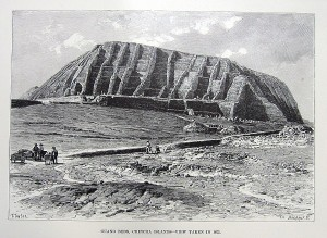 A 19th century etching of one of the guano-mining Chincha Islands, off the southwest coast of Peru in South America.