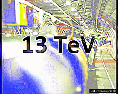 A composite picture showing inside the underground tunnel at CERN, and a small portion of the giant particle accelerator in artificial colours, with the words 13 TeV superimposed on it. Image: NaturPhilosophie