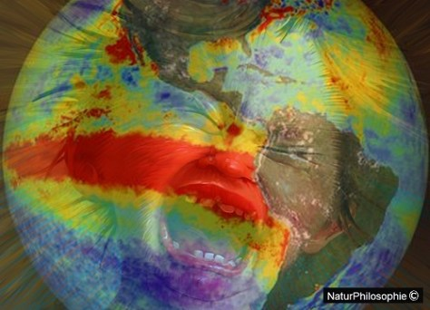 A composite picture showing a heat map of the Earth, highlighting the location of the temperature anomaly in the southern hemisphere, with superimposed on it the face of a young child having a tantrum. Image: NaturPhilosophie