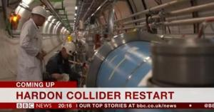 "A screenshot image from the BBC News Channel, with the habitual typographical error. The onscreen caption reads: ""Hardon Collider Restart""."