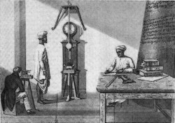 A 19th century etching representing Henry Kater and two of his assistants using his invention - a reversible freeswinging pendulum - to measure gravity.