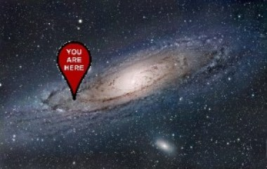 "An artist's impression of our very own barred spiral Galaxy - the Milky Way - with a red tag pointing to its outer edge, labelled ""You Are Here""."