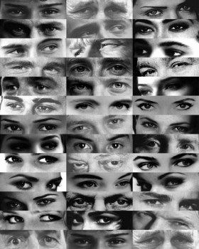A black and white collage of images, featuring men and women's eyes. Image: NaturPhilosophie