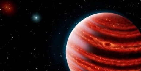 "An illustration showing the distant exoplanet 51 Eridani b, nicknamed ""Young Jupiter"". Source: SETI"