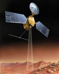 An artist's impression of the Mars Reconnaissance Orbiter surveying the surface of Mars.