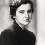 A black and white photograph of Rosalind Franklin - stylish in black.