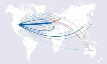 A planisphere showing the western-bound migration of Nobel Physics Laureates.