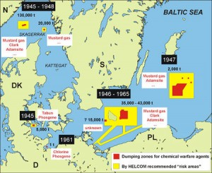 A map showing the known locations of post-war sea dumping of chemical warfare agents in the Baltic Sea, and the zones at high risk of environmental pollution.