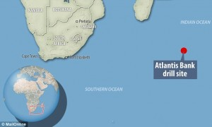 A map showing the location of the drilling site at Atlantis Bank, Indian Ocean.