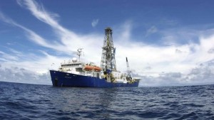 A photograph of the IODPResearch Vessel - Joides Resolution at sea.