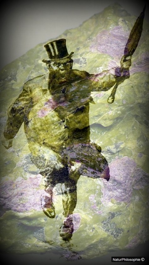 A photographic montage featuring a classic Joseph Clement Coll's Professor Challenger character seen running and waving an umbrella against a background of serpentinite. Image: NaturPhilosophie