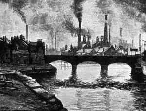 An etching of a river city in the Industrial Era.