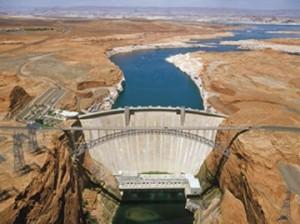 A photograph showing a river dam in Glen Canyon, Arizona.