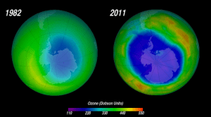 Two images of the hole in the ozone layer over Antarctica in 1982 and 2011.