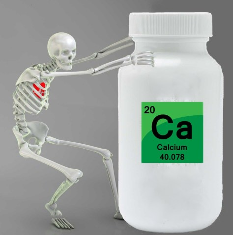 A photographic montage showing a human skeleton pulling on a giant container of calcium supplements.