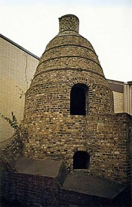 A photograph showing a full-size replica of a Robins kiln.