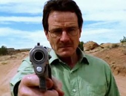 "A photograph showing actor Bryan Cranston playing Tv series ""Breaking Bad""'s character Walter White."