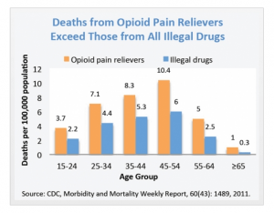 A bar chart showing how the number of Deaths per 100,000 population from Opioid Pain Relievers compared to those deaths due to All Illegal Drugs combined.