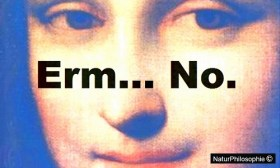 """Artwork for """"Hunting Ripples in the Fabric of Space-Time – The Trials and Tribulations of LISA"""" showing a close-up portrait of Leonardo da Vinci's Mona Lisa with the caption """"Erm... No."""" Artwork: NaturPhilosophie"""