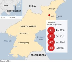 A map showing the location of North Korea nuclear testing over the past ten years. Source: USGS