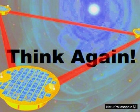 "Artwork for ""Hunting Ripples in the Fabric of Space-Time – The Trials and Tribulations of LISA"" showing the LISA space array, with the caption: ""Think Again!"" Artwork: NaturPhilosophie"