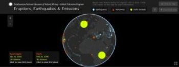 A screenshot of the Global Eruptions Earthquakes and Emissions web-based application of the Smithsonian Natural History Museum.