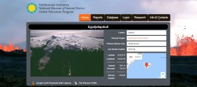 A screenshot of the Smithsonian GVP's E3 application providing data on the Eyjafjallajokull volcano.