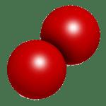A free oxygen molecule, O<sub>2</sub>.