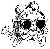"A cartoon showing an ""actual"" running clock, complete with hands, feet and sunglasses!"