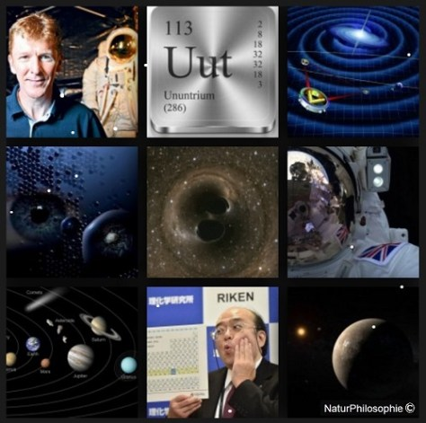 A photo-montage showing pictures of the recent scientific developments of the year 2016. From Major Tim Peake's extraordinary space adventure, to the discovery of the missing elements in the Periodic Table, and the gravitational wave detection from a merger of black holes far away in outer space... Collage: NaturPhilosophie