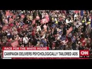 "A screenshot of a CNN news headline: ""Race for the White House - Campaign delivers psychologically tailored ads."""