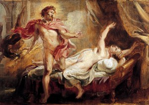 A XVIth century oil on canvas painting of Roman god Jupiter, with doomed lover Semele, by Flemish artist Peter Paul Rubens.