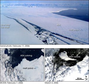 A collage of aerial photographs showing the progressive claving of the A54 iceberg from the Larsen C Ice Shelf. Photographs are dated February 7, 2006, February 11, 2006 and March 5, 2006.