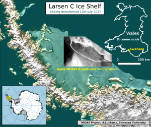 Map of the Larsen C Ice Shelf in Antarctica.