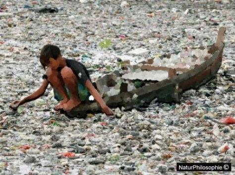 Part drawing, part photograph showing a child riding a boat and collecting plastic containers from the clogged up surface of a river. Image: NaturPhilosophie