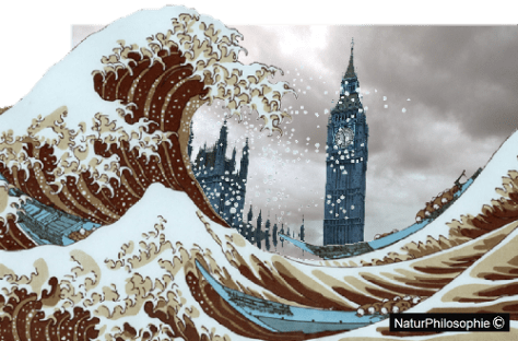 A picture showing the artist's vision of the buildings of Parliament and Big Ben clock tower being overtaken by the waves, or more precisely by a muddy version of Hokusai's Big Wave. Image: NaturPhilosophie