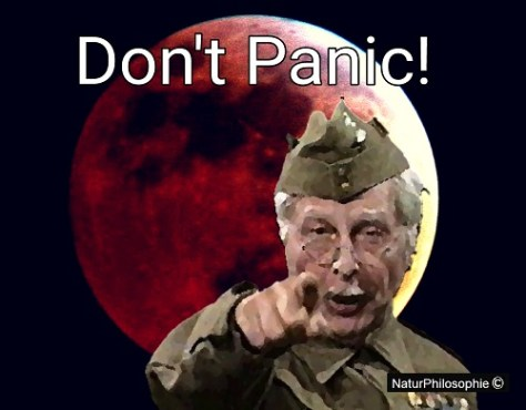"A meme showing Lance Corporal Jack Jones, from the fictional Home Guard platoon portrayed in popular British sitcom 'Dad's Army' uttering his familiar catchphrase: ""Don't Panic!"" with a total eclipse of the Moon appearing crimson red in the background."