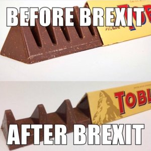 """A meme showing the traditional sized Toblerone bar and the reduced one. The commentary goes: """"Before Brexit"""" (old), """"After Brexit"""" (new)."""
