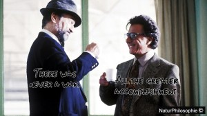 """A meme depicting Robert De Niro and Dustin Hoffman as Conrad Brean: """"There was never a war."""" and Stanley Motss: """"All the greater accomplishment."""" in a scene of Wag The Dog (1997) - a black comedy film where a spin doctor and a Hollywood producer fabricate a war to distract voters from a presidential sex scandal."""