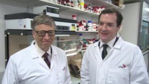 A photograph showing Bill Gates and ex-Chancellor of the Exchequer George Osborne posing in white lab coats in June 2016. Source: BBC News