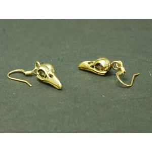 small raven earrings bronze