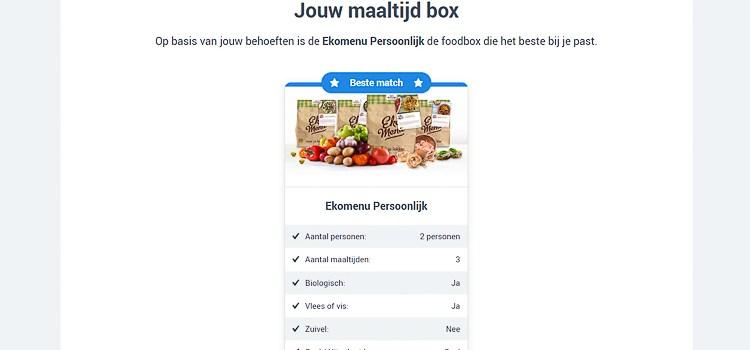 Met de Foodboxwizard zie je door de courgettes en zoete aardappels jouw maaltijdbox weer!