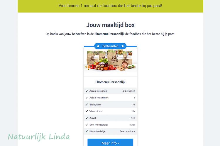 Foodboxwizard resultaat Natuurlijk Linda