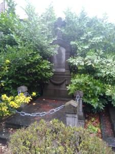 graf omarmd door levende planten