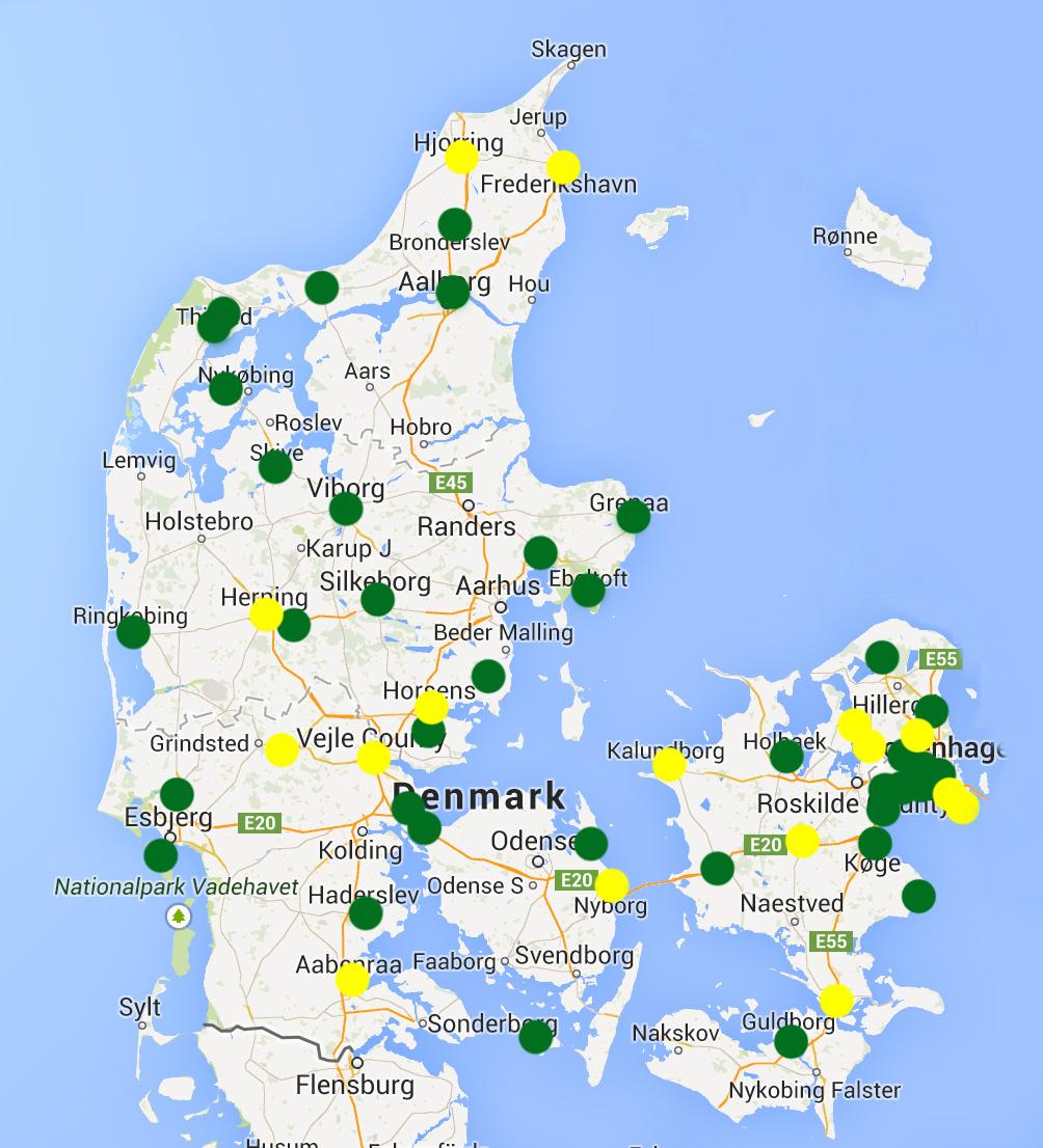 Grønne prikker markerer eksisterende ungdomsråd og gule prikker markerer råd under opstart