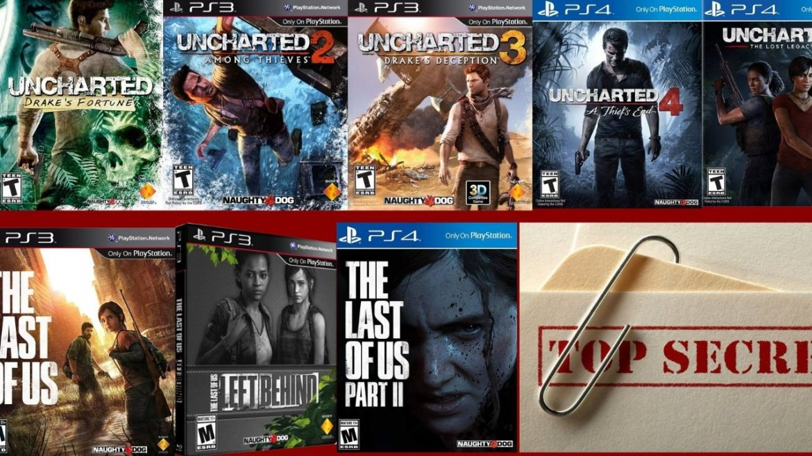 uncharted 1, 2, 3, 4, the lost legacy, the last of us 1 et 2, top secret