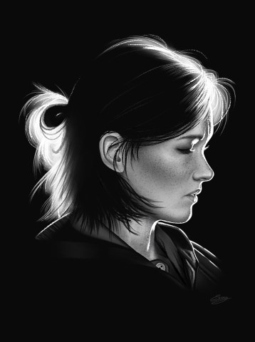 Ellie TLOU2, Noir et blanc, de profil