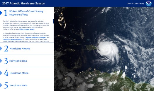 Front page of hurricane season story map.